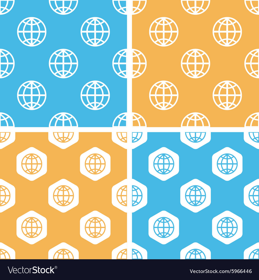 Globe pattern set colored vector