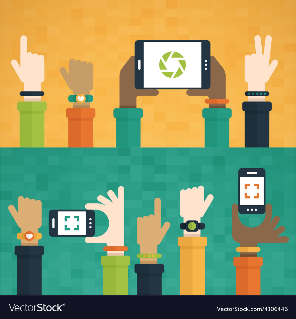 Hands raised with mobile devices vector