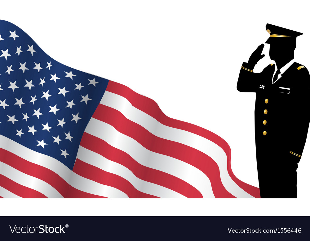 Solider standing in front of us flag saluting vector