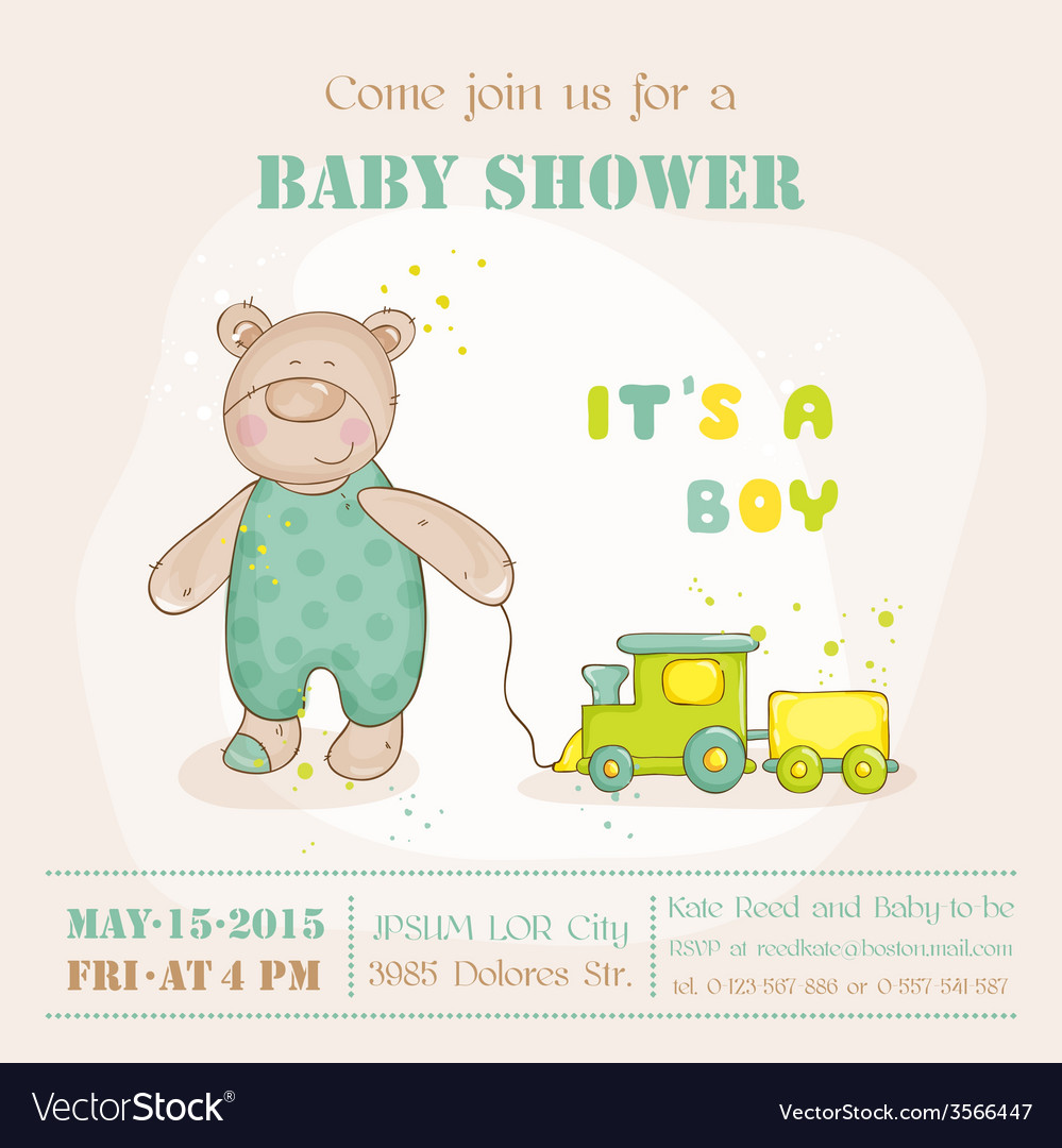 Baby shower or arrival card  with baby bear vector
