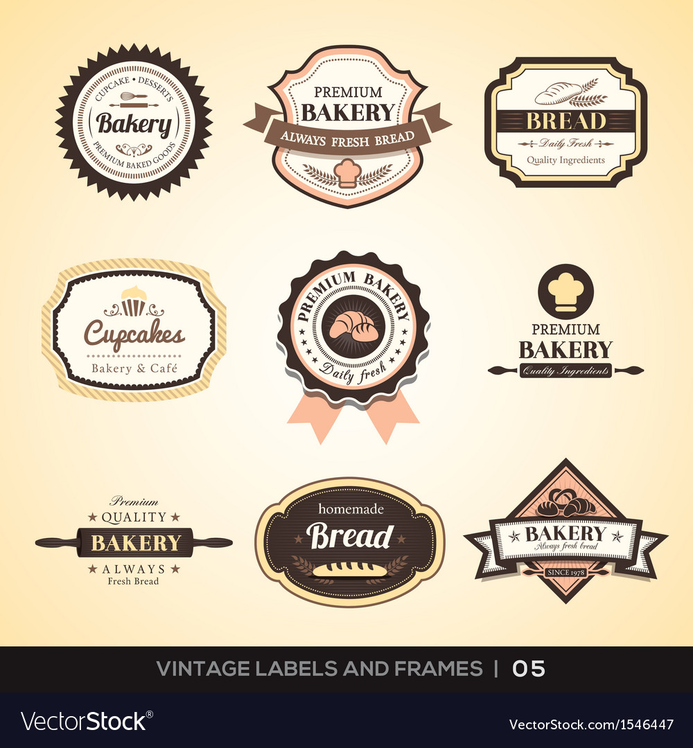 Vintage bakery logo labels and frames vector