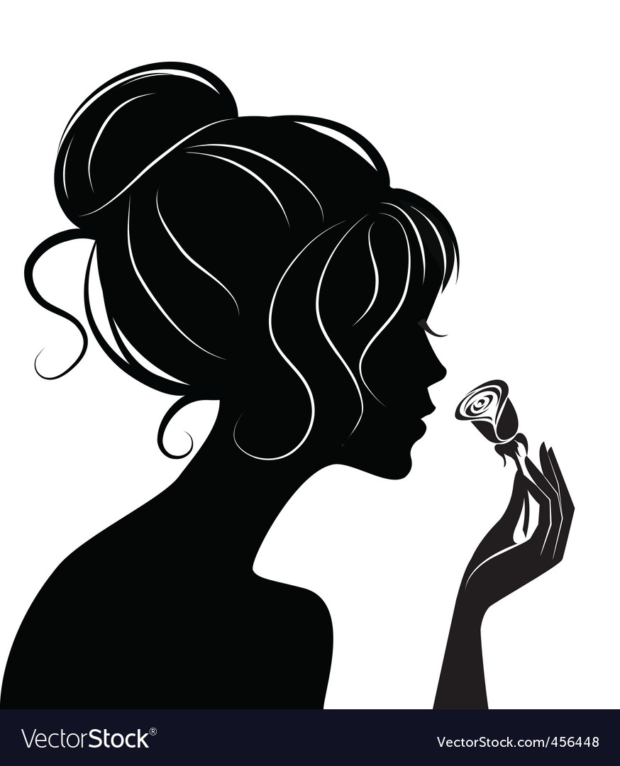 Beauty girl silhouette with rose vector