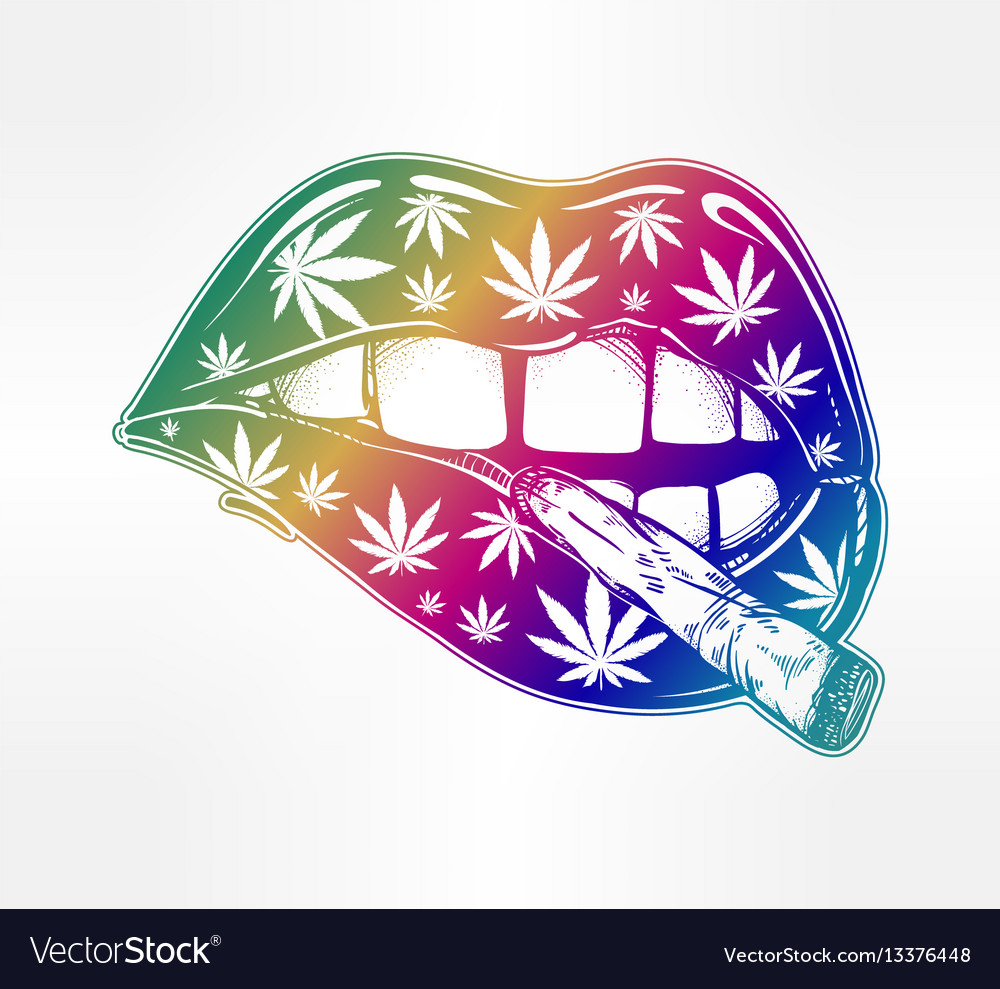 Lips with weed joint or tabacco cigarette vector