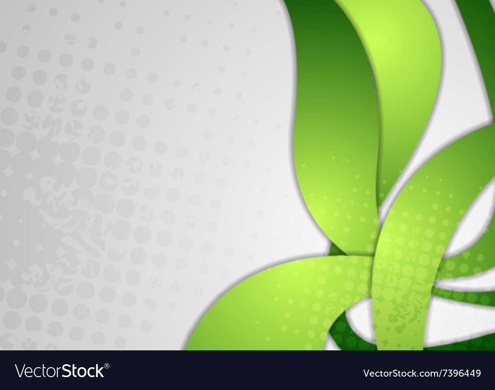 Bright green wavy grunge background vector