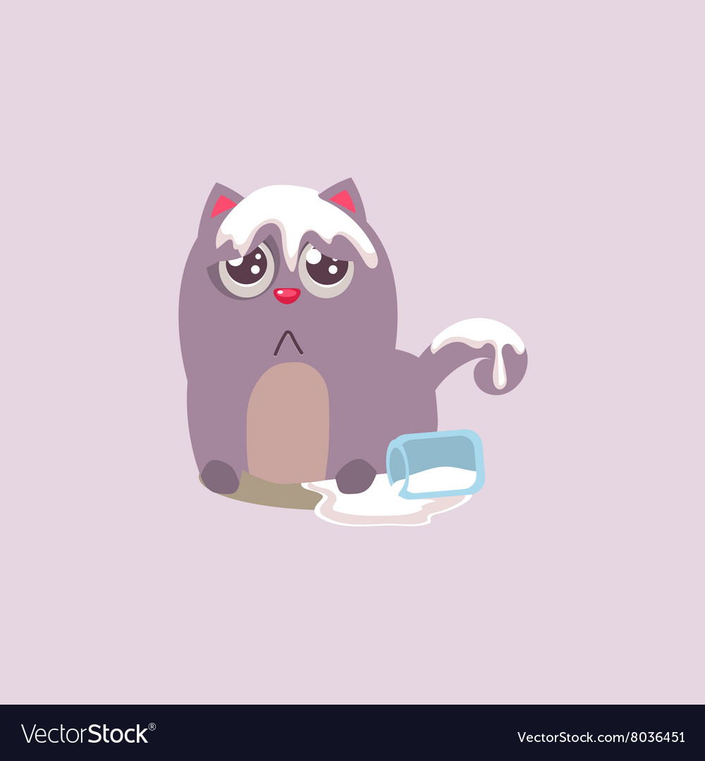Cat spilling the milk vector