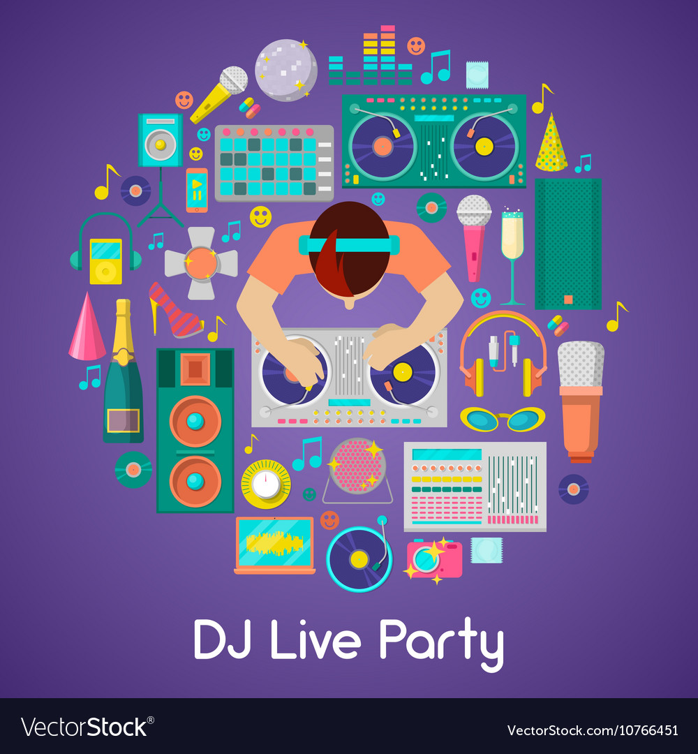 Dj music party icons set with musical instruments vector