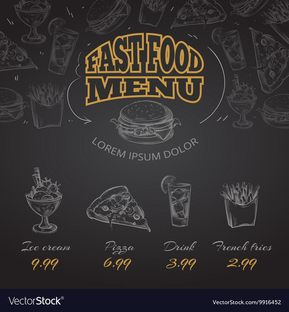 Chalkboard fast food menu in hand drawn style vector