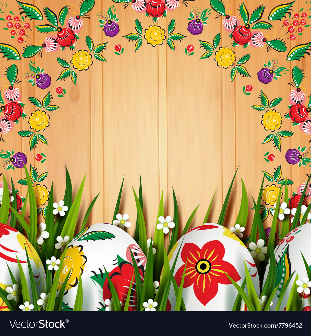Easter folk card vector