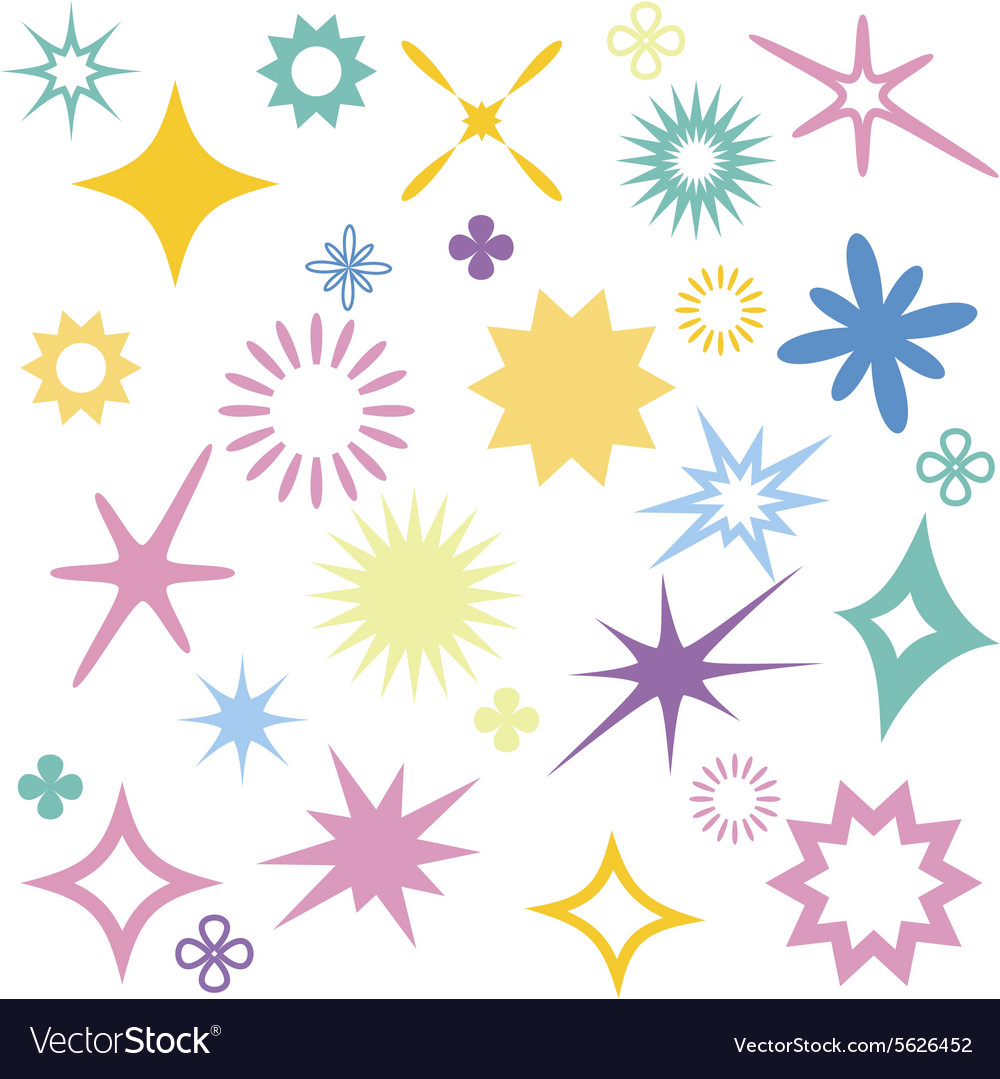 Sparkles colourful symbols vector