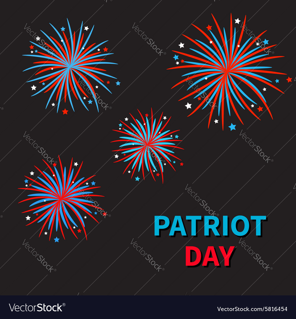 Fireworks on black sky blue text patriot day vector