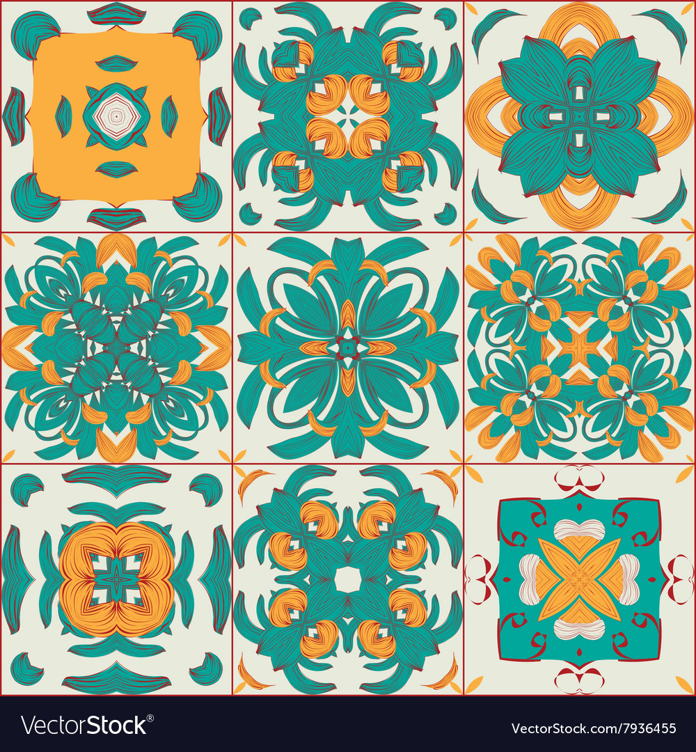 Pattern from the arabic tiles vector
