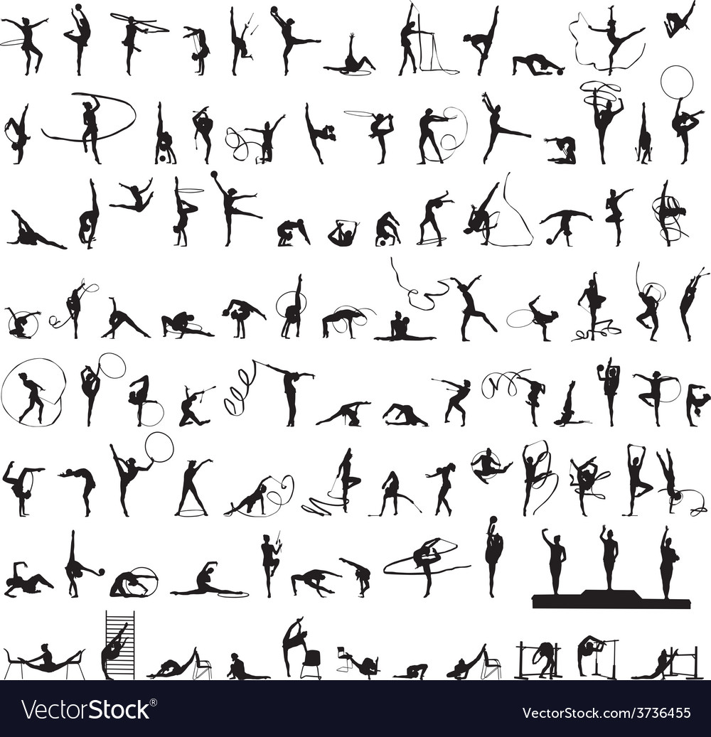 Set of silhouettes rhythmic gymnastics vector