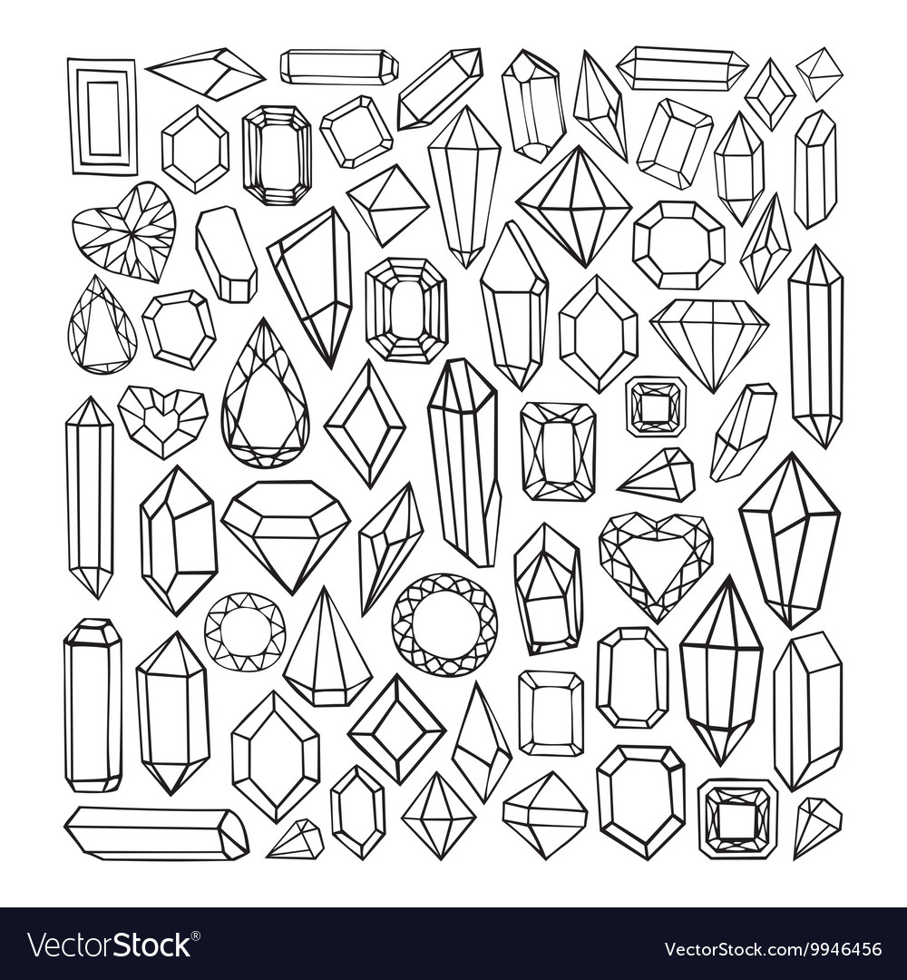 Hand drawn modern set of crystals vector