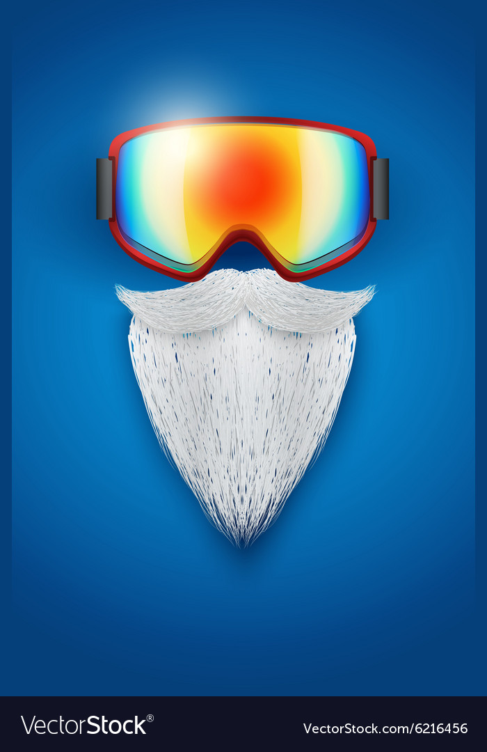 Santa claus symbol with ski goggles and white vector
