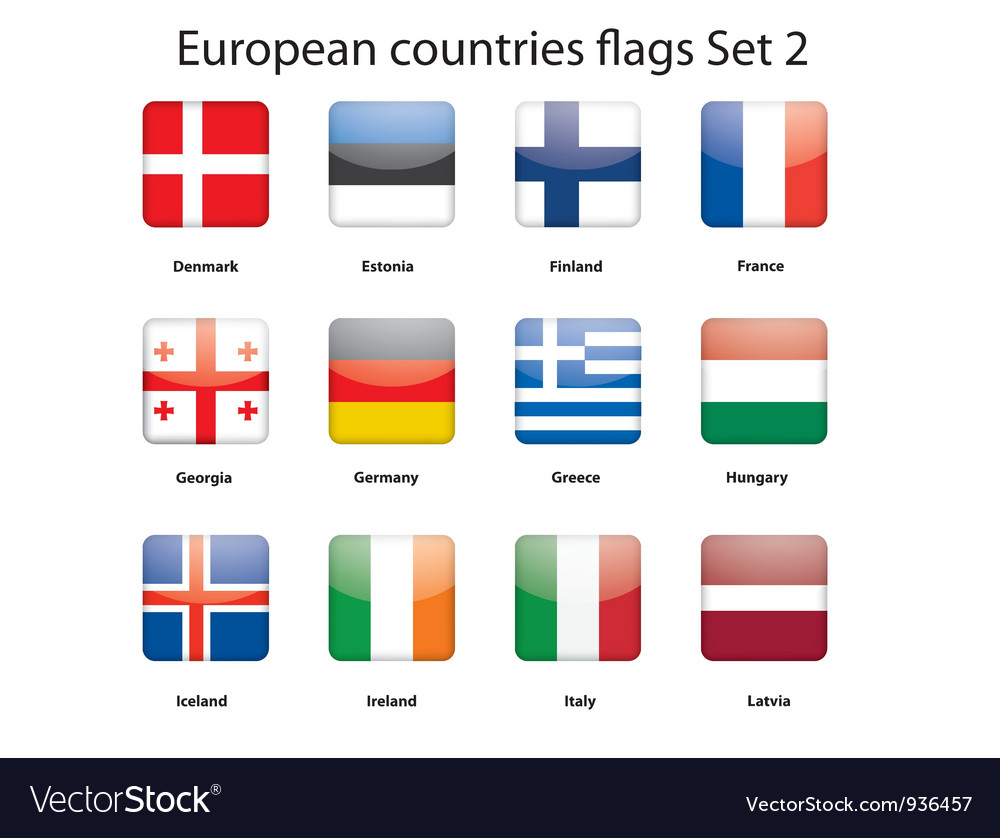 European countries flags set 2 vector