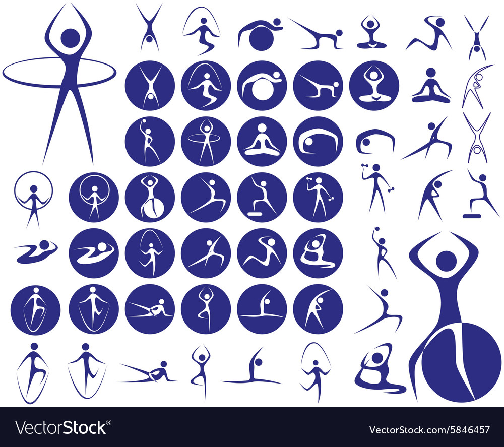 Icons sport fitness vector