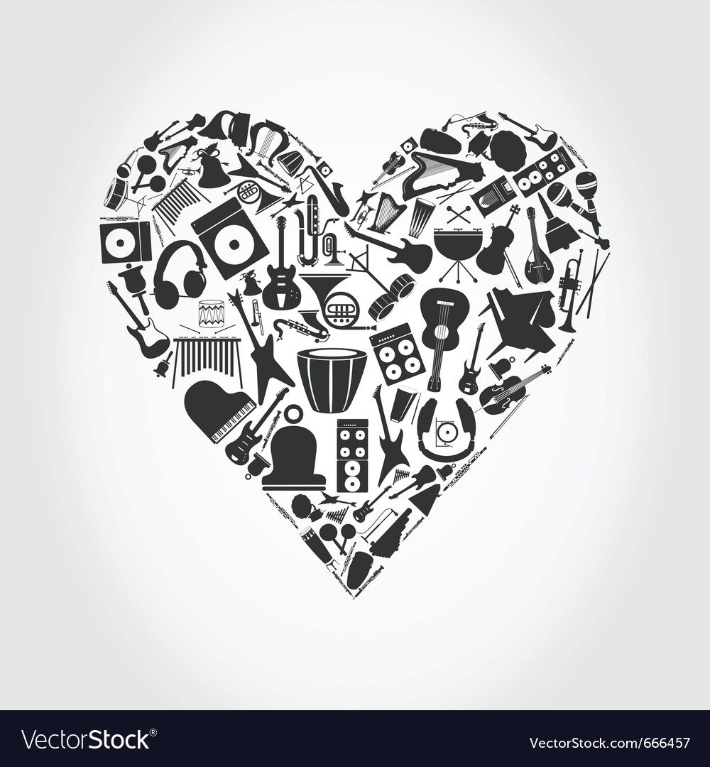Music mosaic heart vector