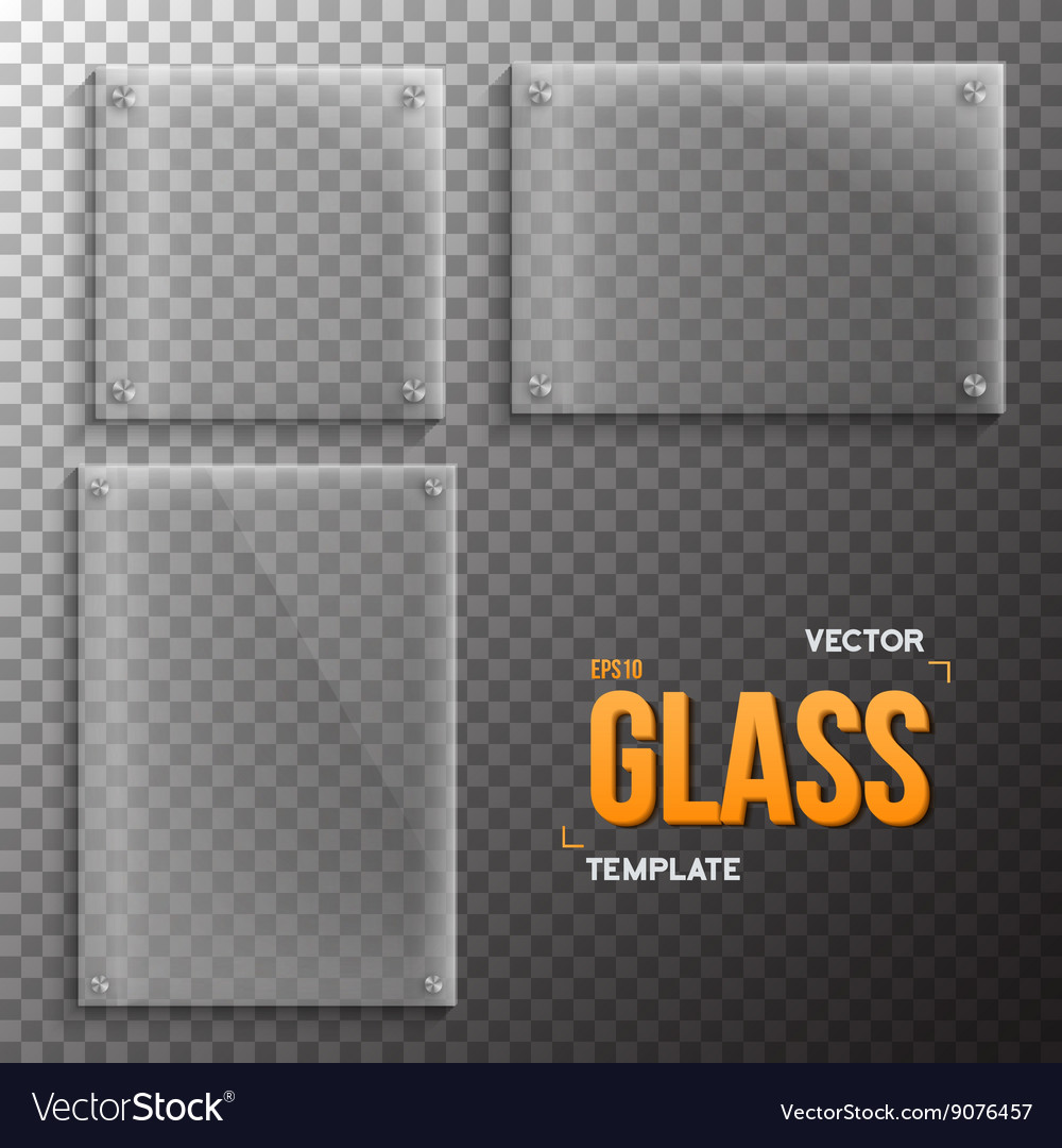 Set of realistic glass frame template vector