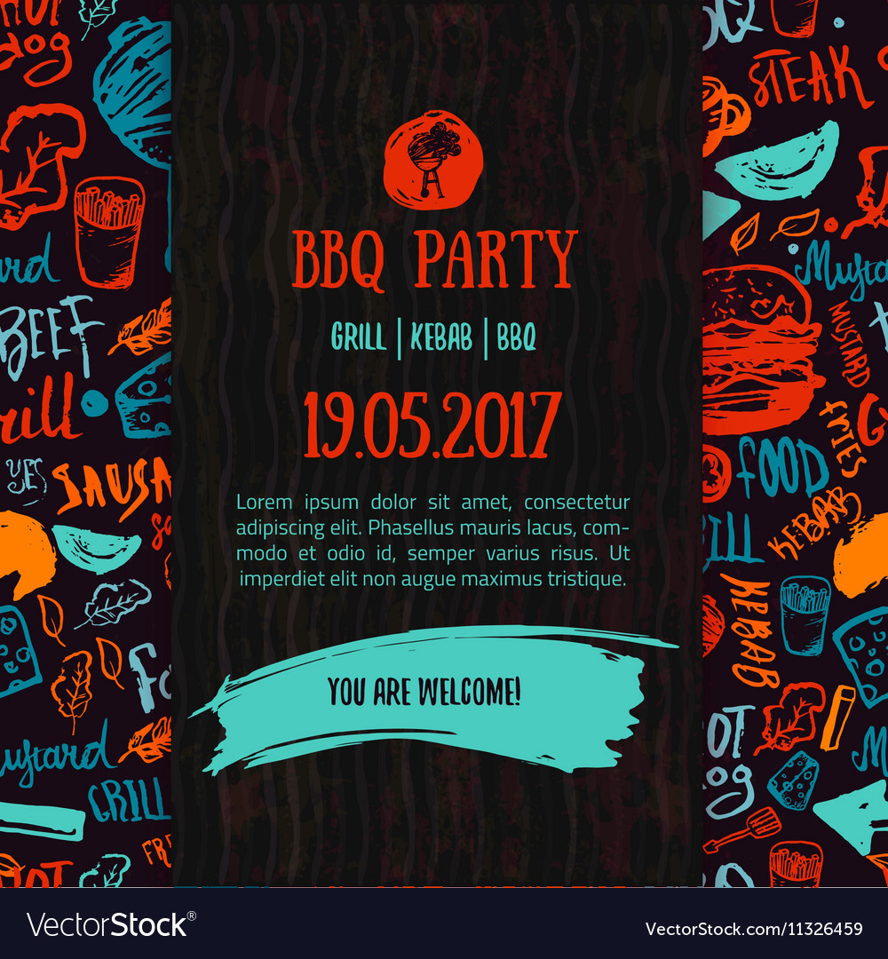 Bbq opening party announcement doodle handdrawn vector