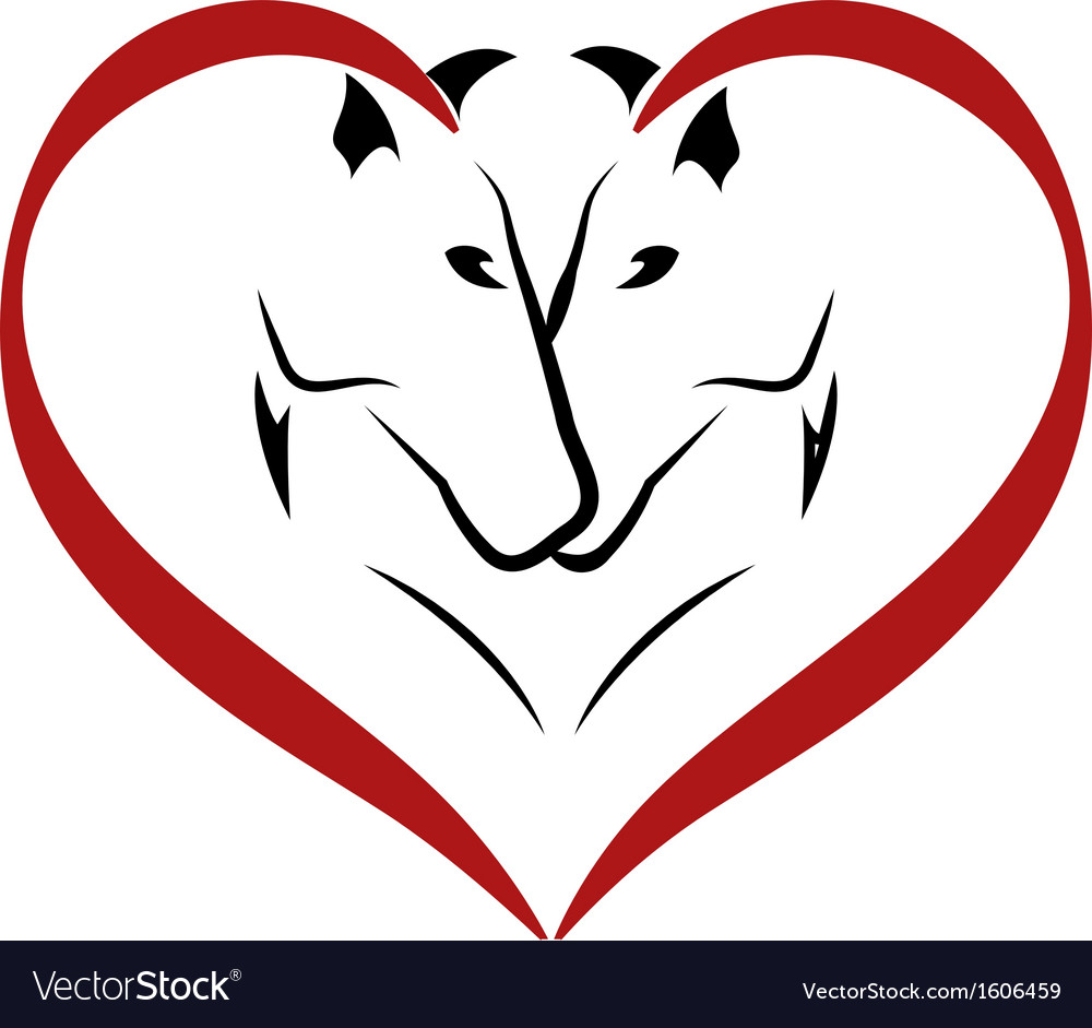 Stylized horses in love logo vector