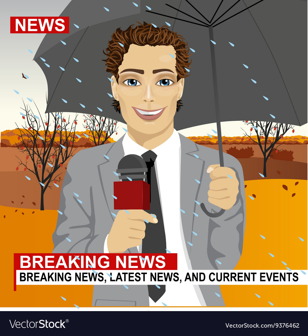Male journalist working in rainy weather vector