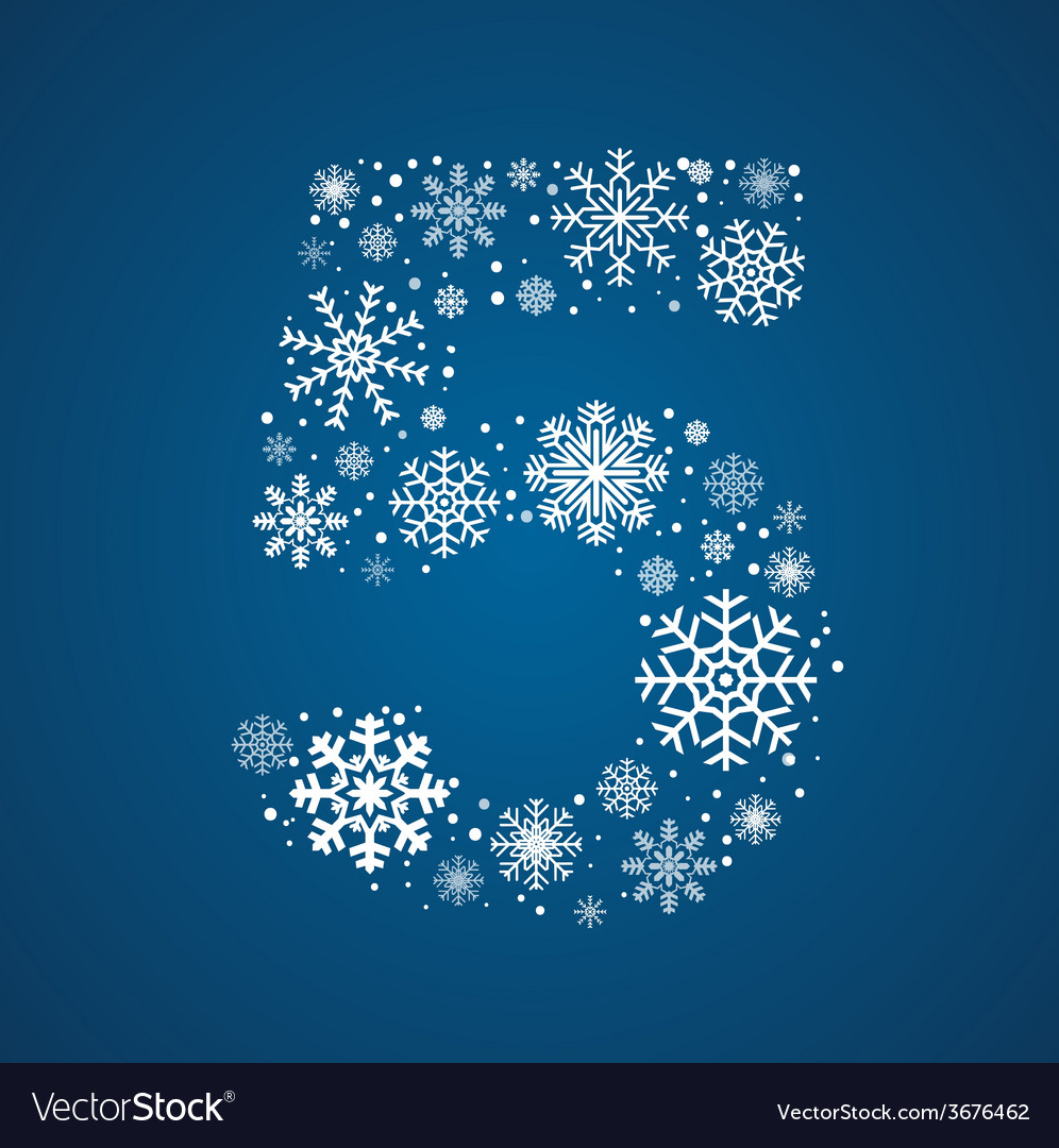 Number 5 font frosty snowflakes vector