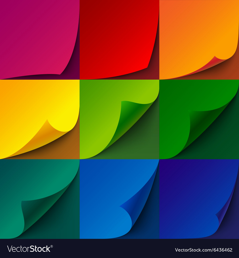 Set of curled rainbow paper square sheets with vector