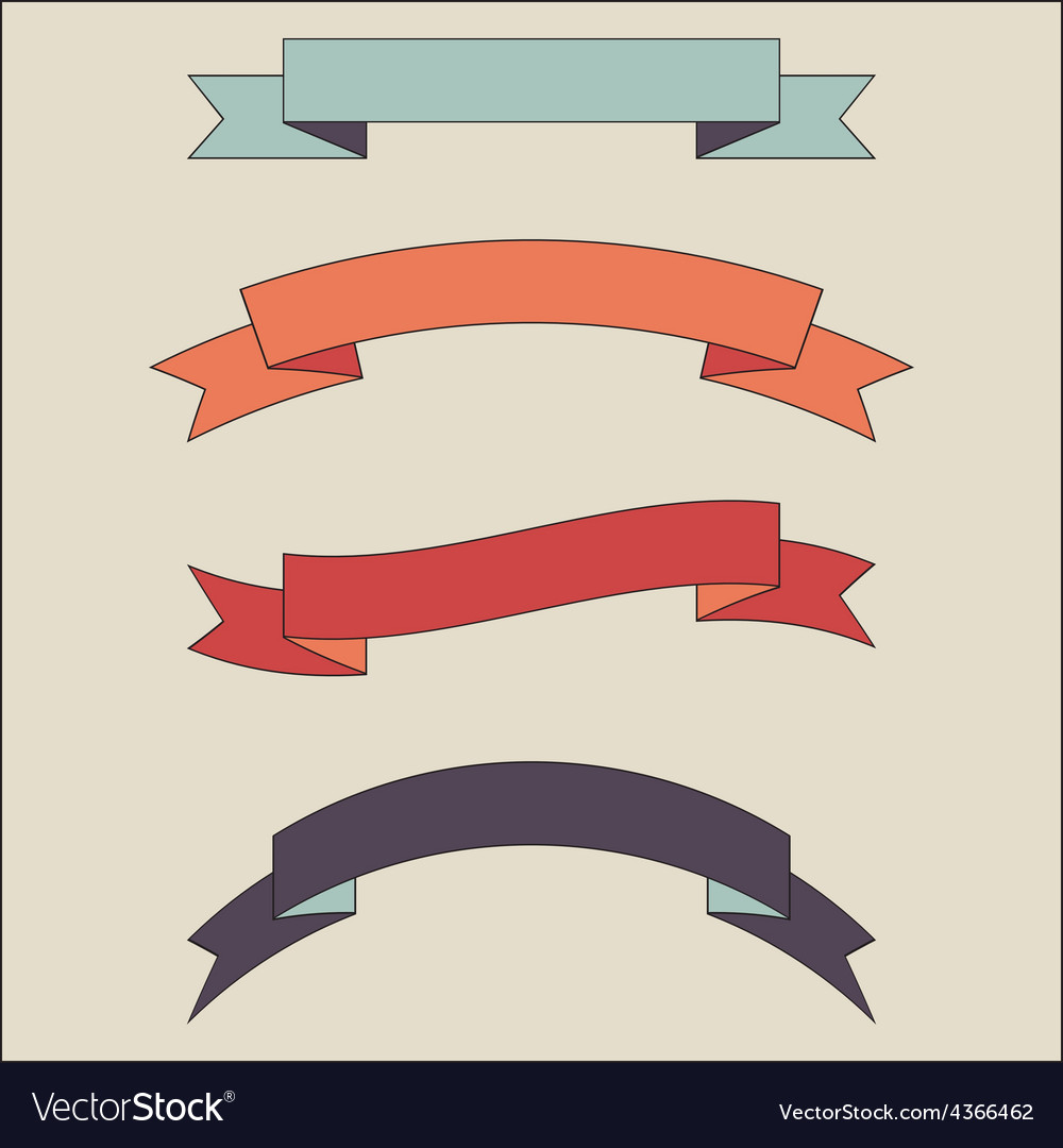 Vintage ribbon banner set vector