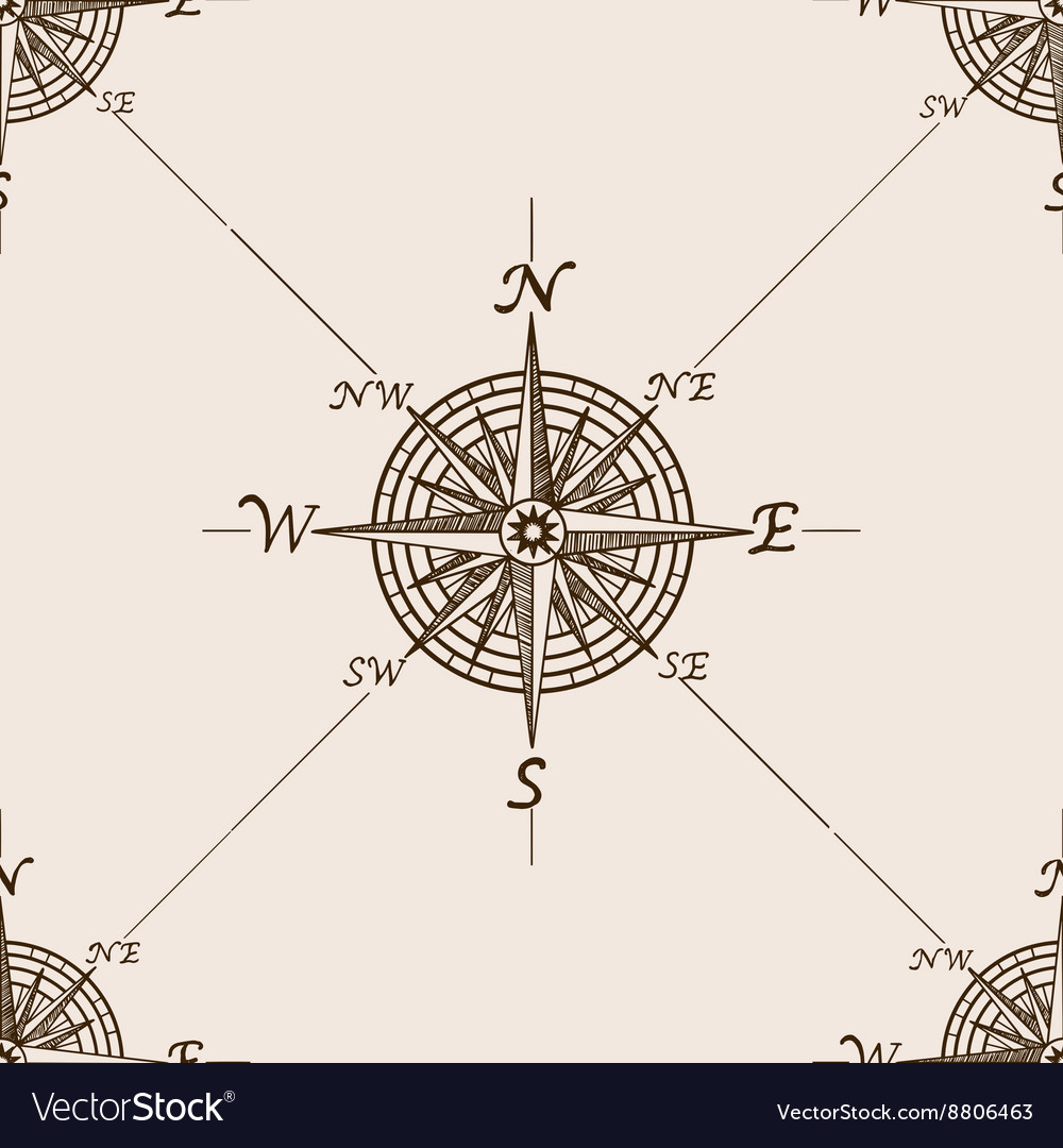 Compass rose sketch style seamless pattern vector