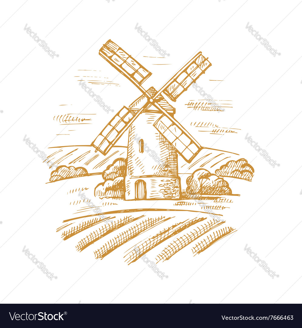Mill and landscape vector