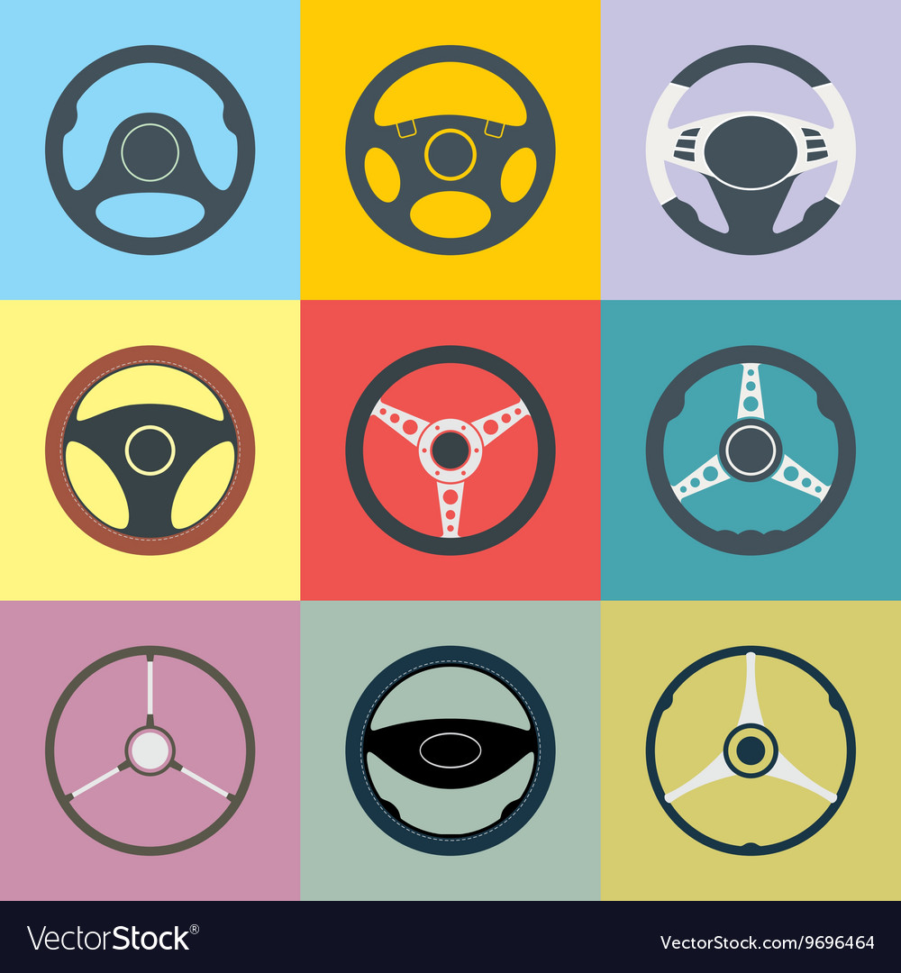 Car steering wheel flat icons set vector
