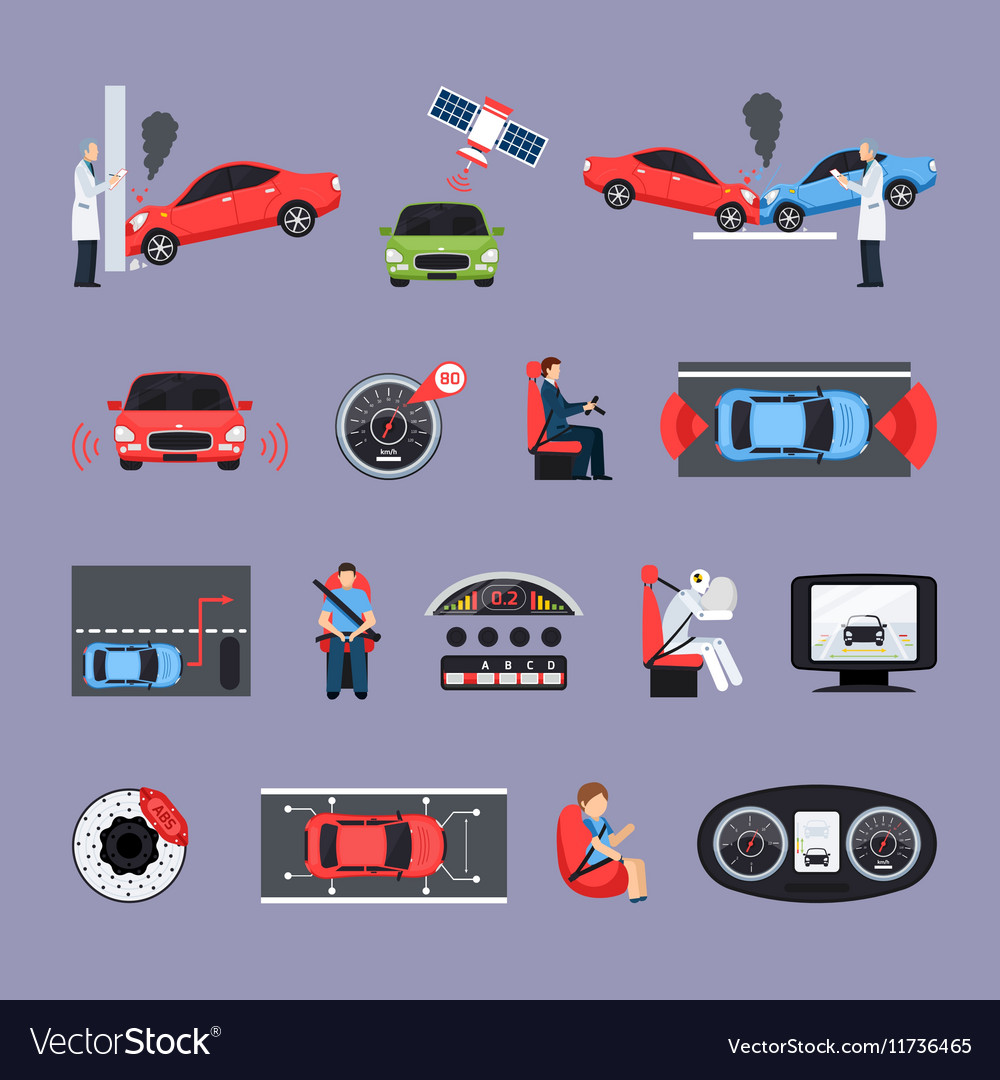 Car safety systems icons set vector