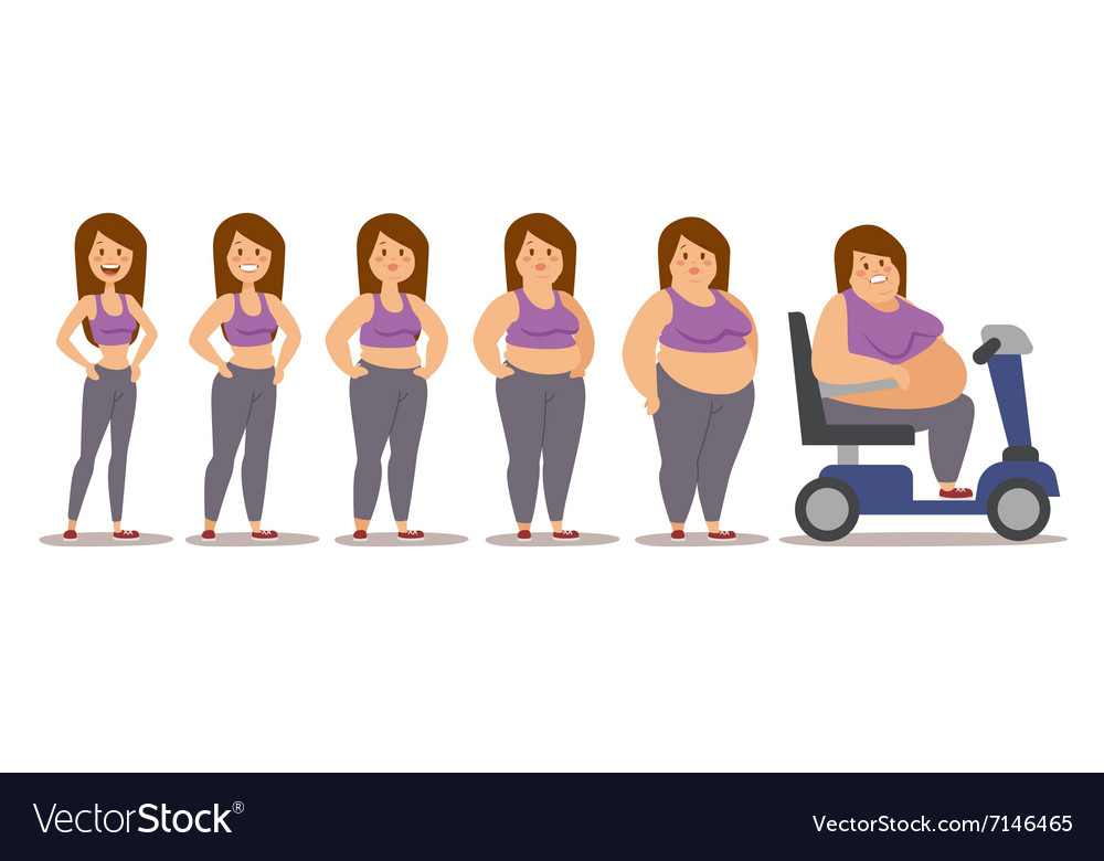 Fat man cartoon style different stages vector
