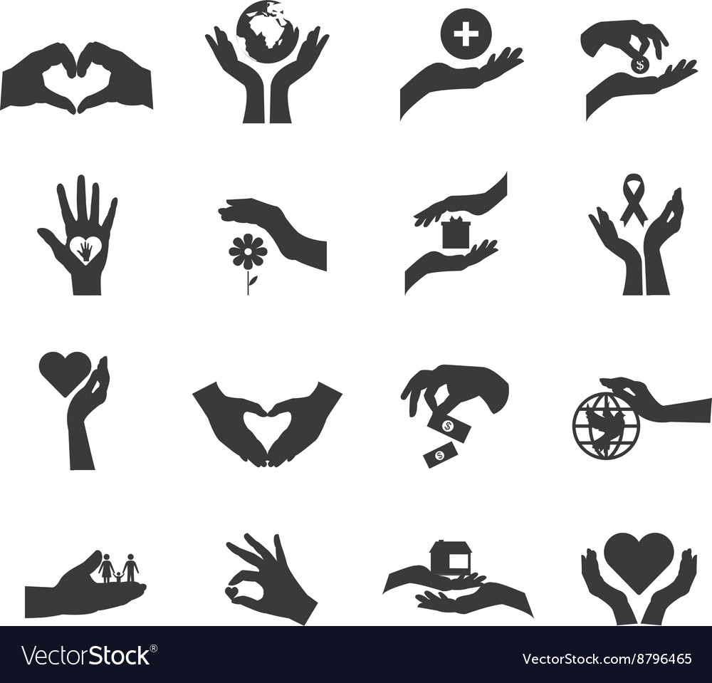 Hand silhouette flat icon isolated set vector