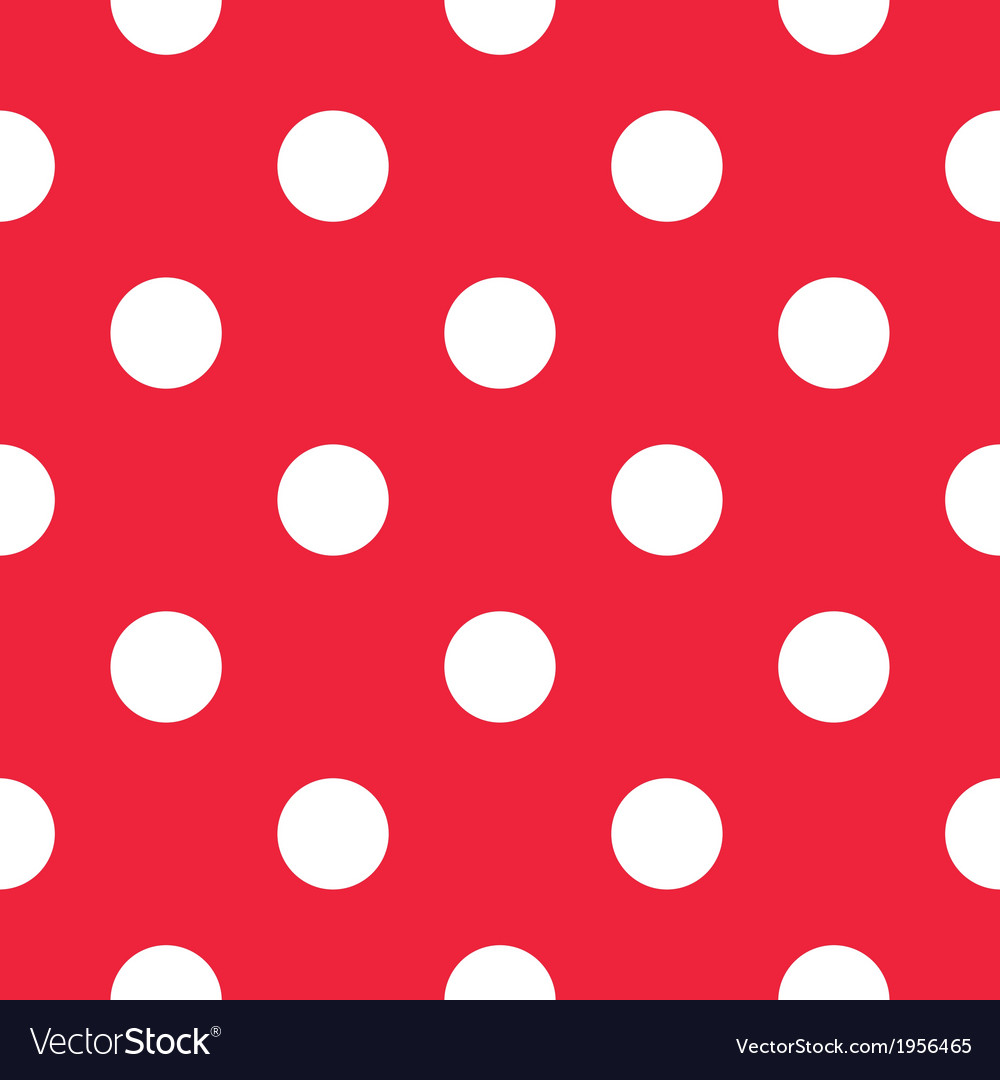 Pattern with white polka dots on red background vector