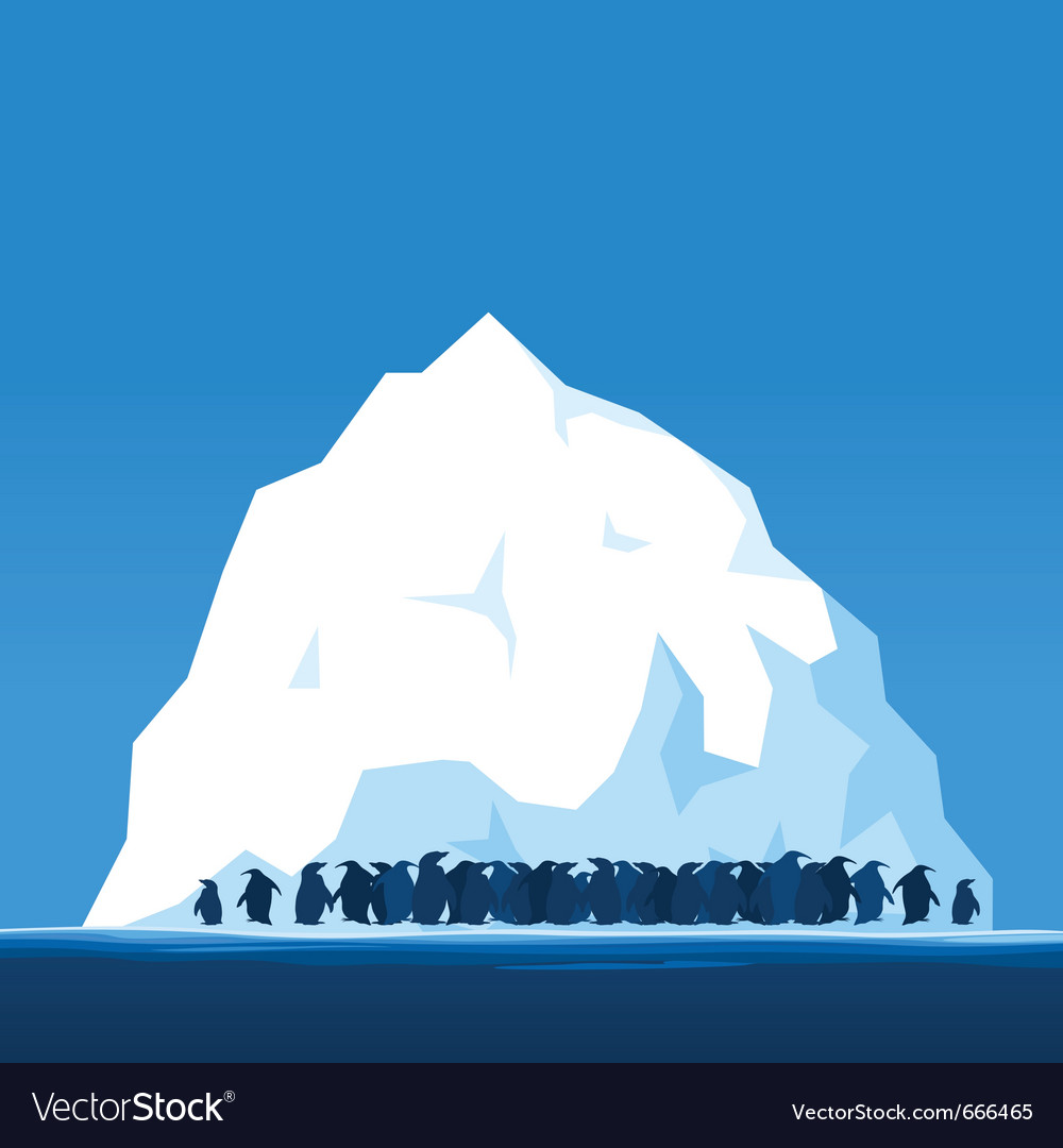 Penguins on ice vector