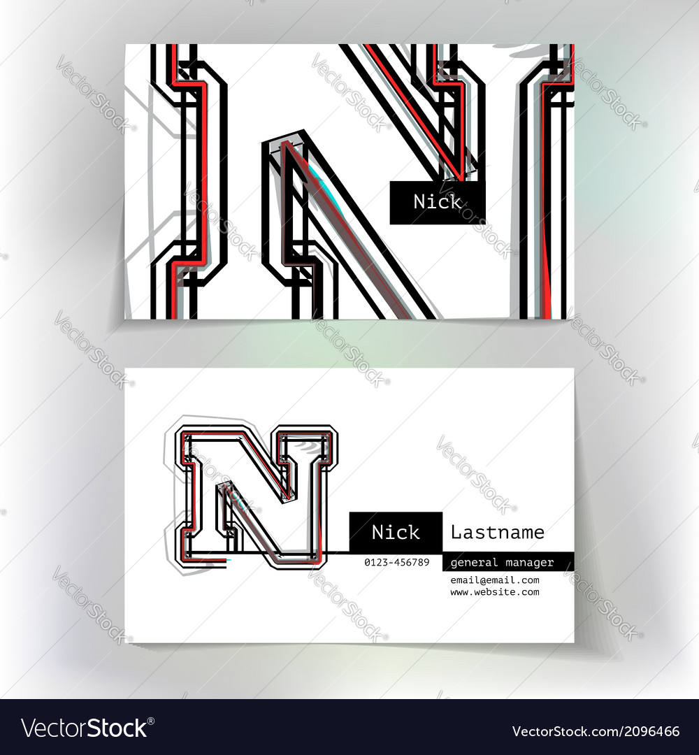 Business card design with letter n vector