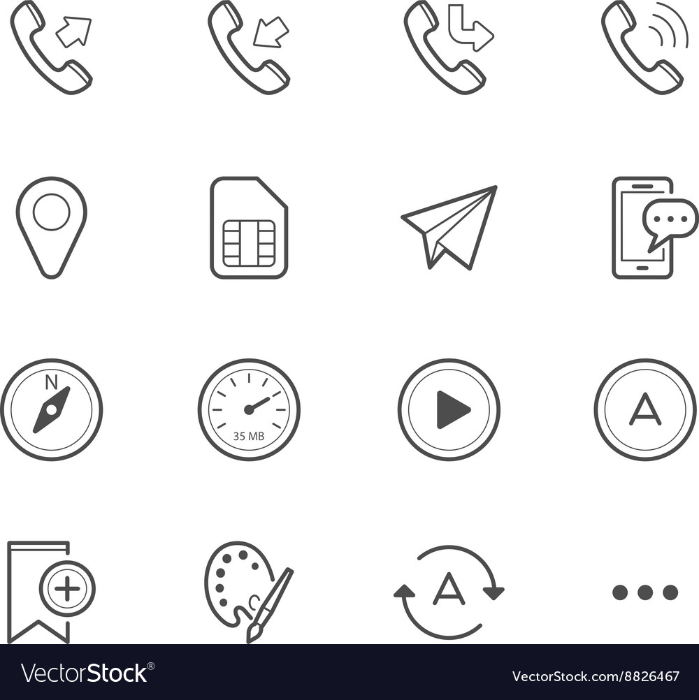 Simple icons for mobile phone and application vector