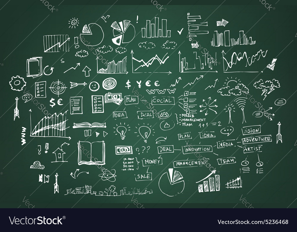 Business doodles on dark green vector