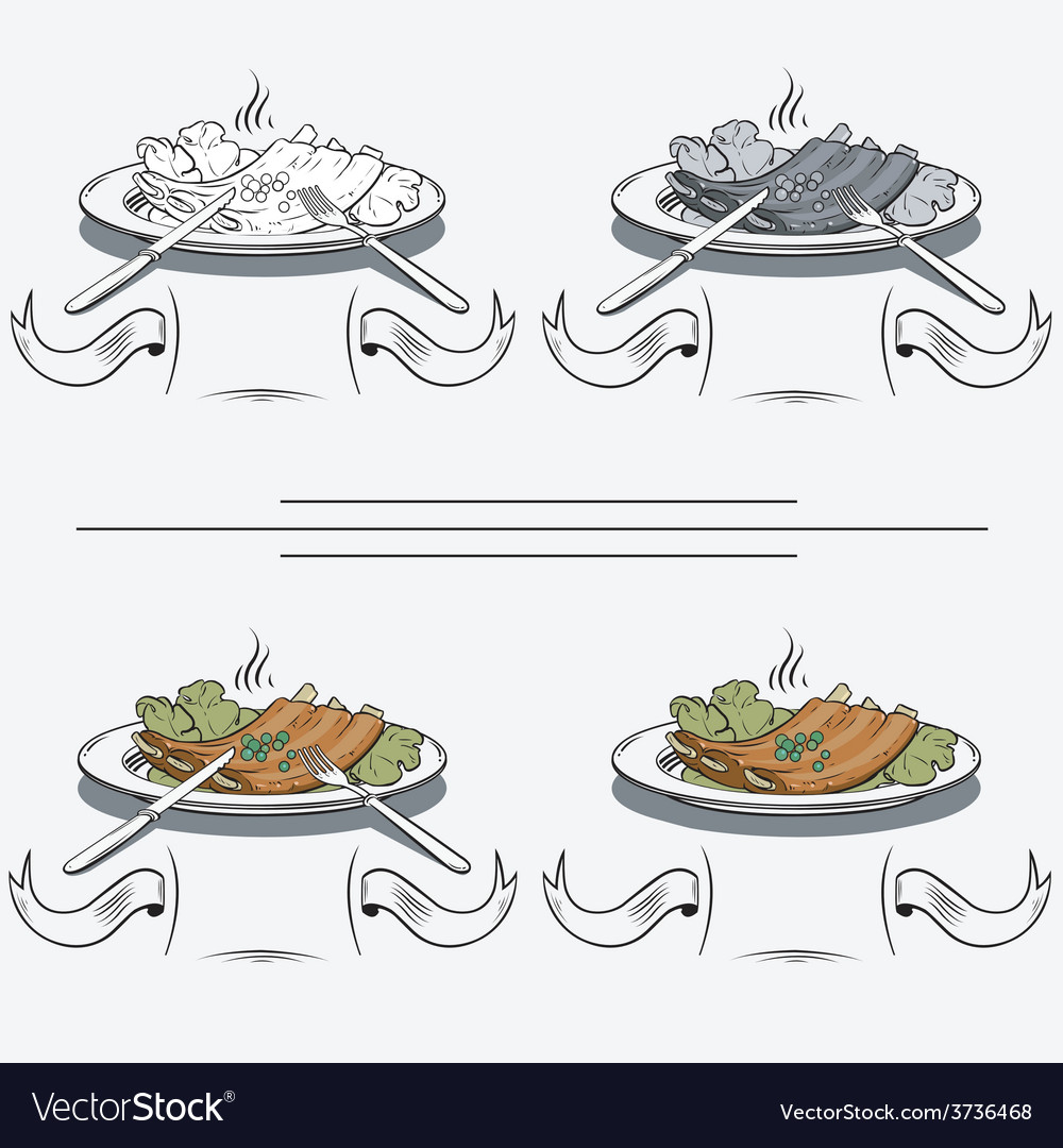 Cooked ribs on the grill vector