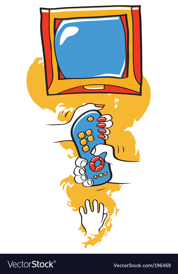 Family and tv remote vector