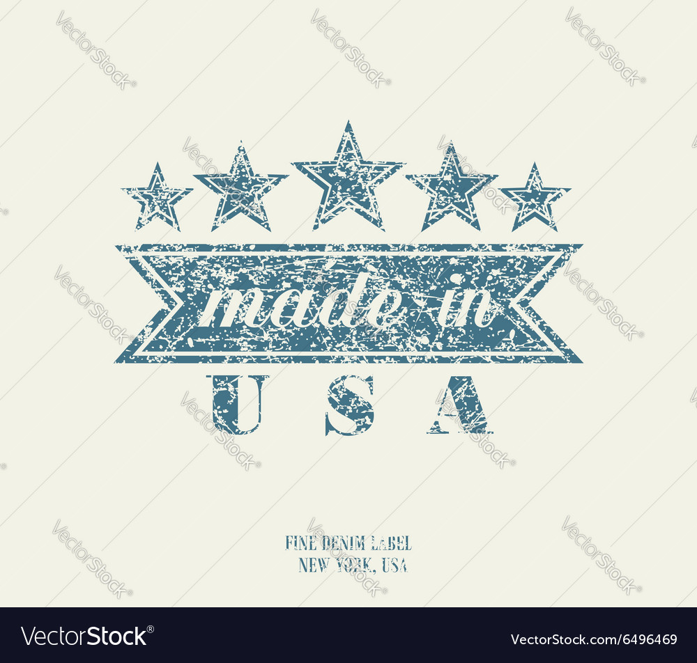 Vintage denim typography made in usa vector