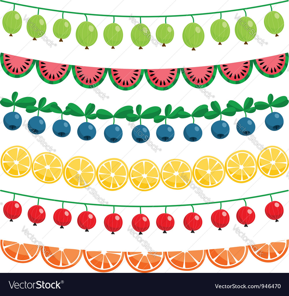 Berries and fruits garland set vector