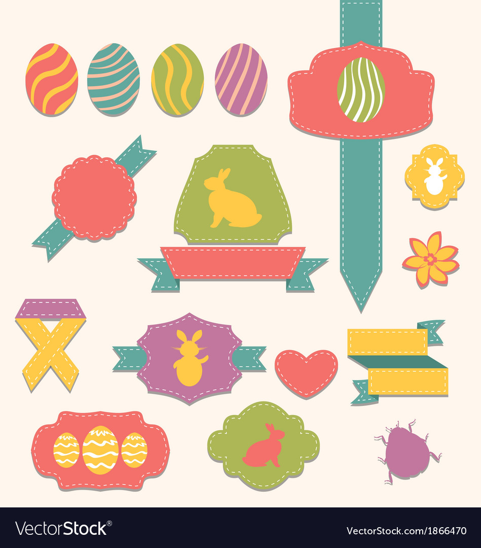 Easter scrapbook set  labels ribbons and other vector