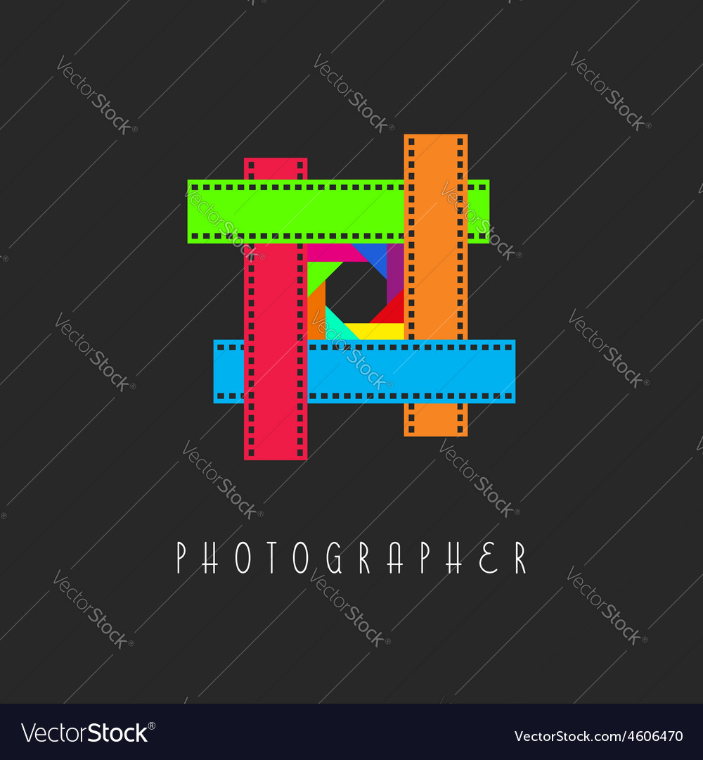 Frame of the film logo colored lens aperture vector