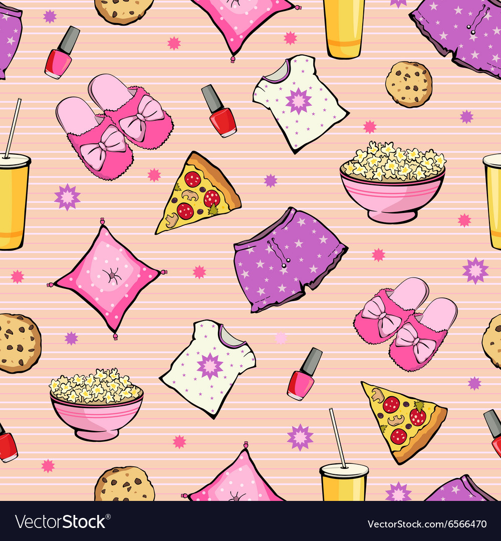 Pink slumber party food objects seamless vector
