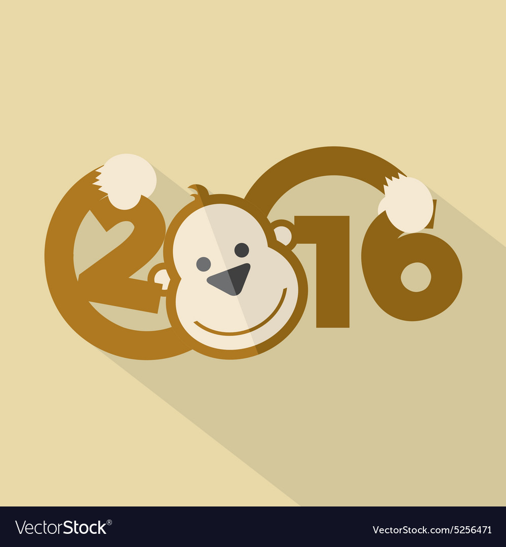 2016 typography with cute monkey vector