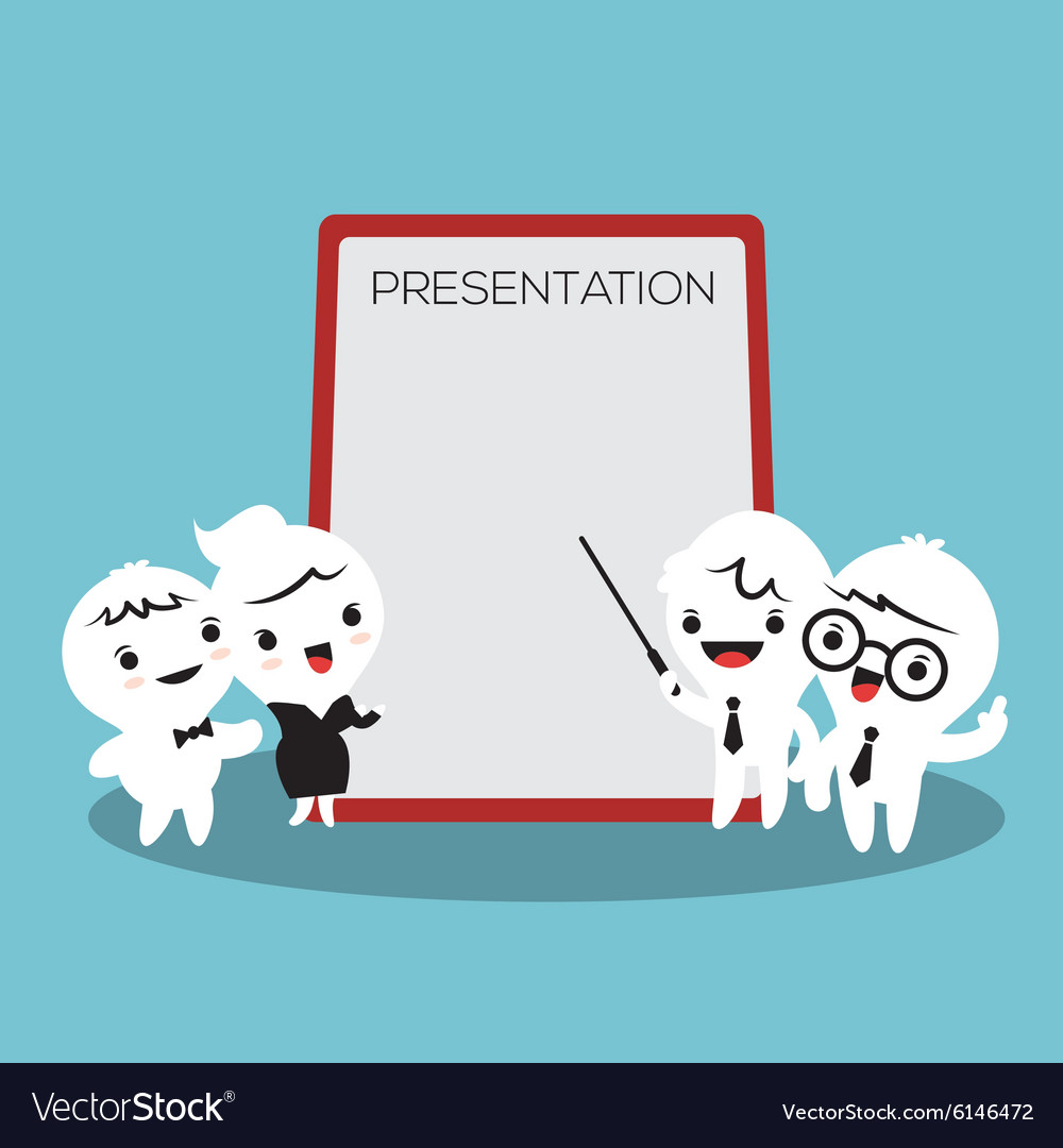 Business people cartoon presenting white billboard vector