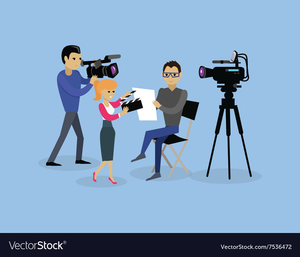 Camera crew team people group flat style vector