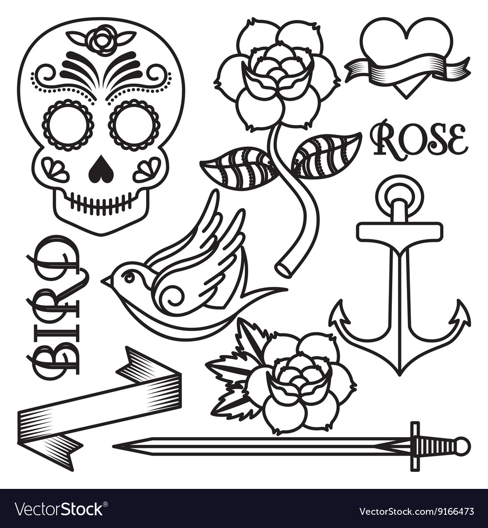 Roses tattoo design vector